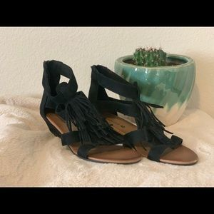 "Black fringe 2"" wedges, size 7"